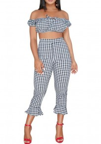 Black White Plaid Print Ruffle Backless Two Piece Off Shoulder Sweet Flare Long Jumpsuit