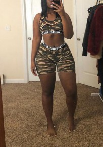 Camouflage Monogram Print Two Piece High Waisted Round Neck Sports Yoga Casual Short Jumpsuit