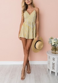 Yellow Striped Condole Belt Zipper Fashion Short Jumpsuit