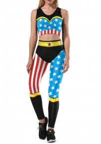 Blue American Flag Print Two Piece Wonder Woman Independence Day Casual Long Jumpsuit