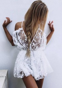 White Floral Grenadine Ruffle Tie Back Embroidery Double-deck Fashion Short Jumpsuit