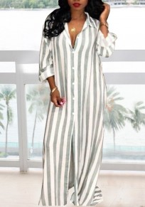 Grey Striped Pockets Single Breasted Two Piece Casual Wide Leg Long Jumpsuit