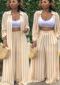 Yellow Striped Pockets Single Breasted Two Piece Casual Wide Leg Long Jumpsuit