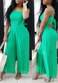 Green Cut Out Bowknot Spaghetti Strap High Waisted Elegant Wide Leg Long Jumpsuit