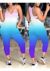 Purple Colorful Pockets Cut Out Spaghetti Strap High Waisted Casual Nine's Jumpsuit