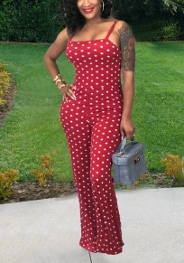 Red Polka Dot Spaghetti Strap Off Shoulder Backless One Piece Sweet Party Long Jumpsuit