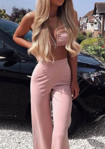 Pink Zipper Studded Flare Bell Buttoms Two Piece Casual Long Jumpsuit