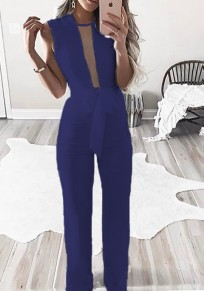 Blue Belt Grenadine Zipper Streetwear Long Jumpsuit