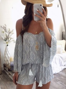 White Floral Tassel Ruffle Off Shoulder Spaghetti Strap Bell Sleeve Casual Short Jumpsuit