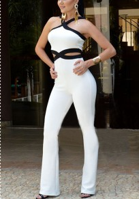 White Cut Out High Waisted Office Worker/Daily Wide Leg Long Jumpsuit