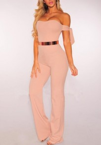 Pink Golden Belt Bandeau Off Shoulder High Waisted Wide Leg Elegant Workwear Long Jumpsuit
