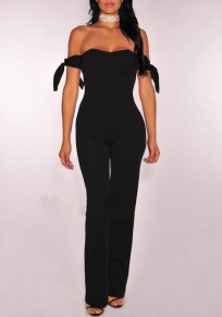Black Golden Belt Bandeau Off Shoulder High Waisted Wide Leg Elegant Workwear Long Jumpsuit
