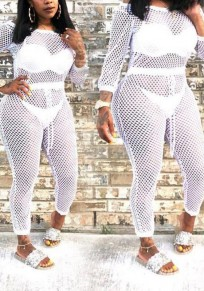 White Cut Out Sashes Off Shoulder High Waisted Sheer Fishnet Boat Neck Clubwear Long Jumpsuit