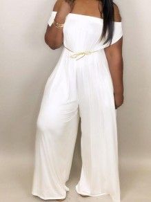 f9fa65edec0 White Draped Pockets Off Shoulder Oversized Casual Wide Leg Long Jumpsuit