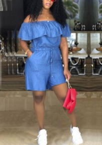 Blue Off Shoulder Ruffle Pockets High Waisted Drawstring Denim Casual Short Jumpsuit