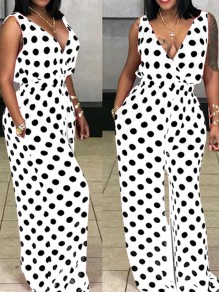 White Polka Dot Deep V-neck Pockets High Waisted Draped Elegant Casual Long Jumpsuit