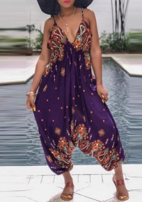 Purple Floral Print Tie Back Backless Halter Neck Deep V-neck Bohemian Mexican Long Jumpsuit