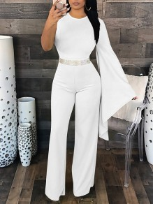 White Asymmetric Shoulder Zipper Fashion Long Jumpsuit