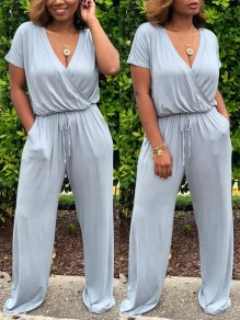 1c613833446 Grey Drawstring Pockets Cut Out One Piece High Waisted V-neck Going out  Long Jumpsuit