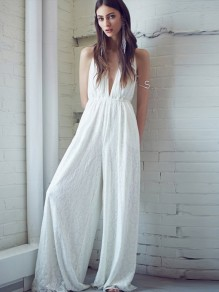 White Patchwork Lace Bow Backless High Waisted Party Wide Leg Long Jumpsuit