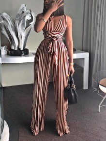 Burgundy Striped Print Sashes Backless Multi Way High Waisted Casual Flare Long Jumpsuit