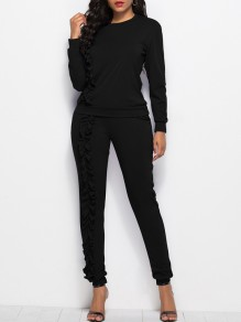 Black Lace Long Sleeve Round Neck Casual 2-in-1 Long Jumpsuit Pant