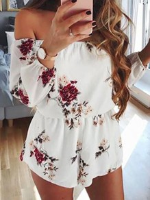 White Flowers Bandeau Off Shoulder Casual Short Jumpsuit