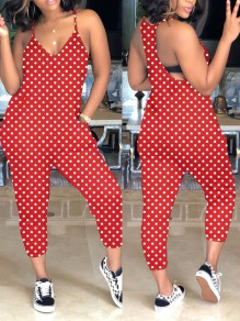 Red White Polka Dot Spaghetti Strap Pockets Backless V-neck Casual Jumpsuit
