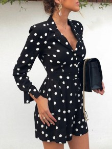 Black Polka Dot Print Cut Out Elastic Waist Fashion Short Jumpsuit