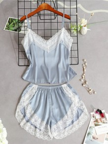 Grey Patchwork Lace Two Piece Spaghetti Strap V-neck Sweet Short Jumpsuit