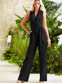 Black Sashes High Waisted Casual Long Jumpsuit