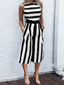Black Striped Print Pockets High Waisted Fashion Nine's Jumpsuit