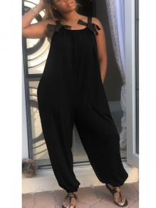 Black Spaghetti Strap Bow Pockets Ruched Backless Deep High Waisted Beachwear Casual Long Jumpsuit
