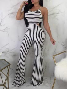 White-Black Striped Tie Back Spaghetti Strap Backless High Waisted Flare Long Jumpsuit