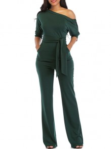 Army Green Belt Pockets One Shoulder Elbow Sleeve Loose Long Jumpsuit Pant