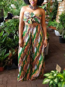 Green Tribal Print Knot Bandeau Off Shoulder Two Piece Backless Casual Wide Leg Palazzo Long Jumpsuit