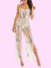 Sliver Spaghetti Strap Sequin Glitter Slit High Waisted Wide Leg Elegant Long Jumpsuit