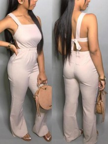 Khaki Tie Back Shoulder-Strap Backless High Waisted Flare Bell Bottom Casual Long Jumpsuit