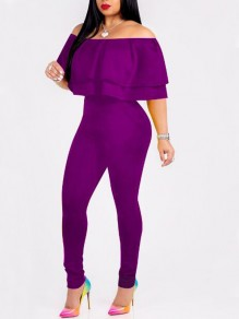 Purple Ruffle Pockets Off Shoulder Backless High Waisted Elegants Long Jumpsuit