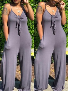 Grey Spaghetti Strap Pockets Knot Backless Deep V-neck Casual Wide Leg Palazzo Jumpsuit