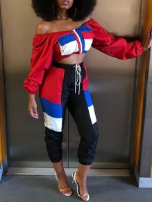 Red Color Block Pockets Drawstring Off Shoulder Two Piece Casual Long Jumpsuit