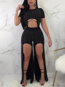 Black Patchwork Rhinestone Diamond Irregular Slit Cut Out Crop Trendy Clubwear Long Jumpsuit