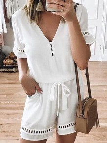 White Belt V-neck Short Sleeve Fashion Short Jumpsuit