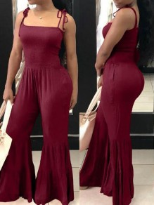 Burgundy Pleated Ruffle Spaghetti Strap Backless High Waisted Wide Leg Bell Bottom Casual Long Jumpsuit