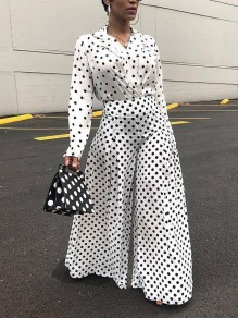 White Polka Dot Two Piece High Waisted Wide Leg Elegant Long Jumpsuit