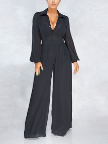 Black Grenadine Buttons Belt Pleate Chiffon Elegant Wide Leg Palazzo Jumpsuit