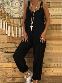 Black Pockets Mid-rise Casual Long Jumpsuit Overall Pants