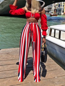 Red Striped Off Shoulder Sashes Two Piece Bell Sleeve Elegant Party Long Jumpsuit