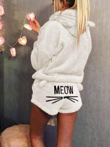 Beige Meom Cat Print Pockets Two Piece Hooded Teedy Cute Sweet Pajamas Short Jumpsuits