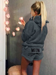 "Dark Grey Letter ""MEOW"" Print High Waisted Cute Short Jumpsuit"